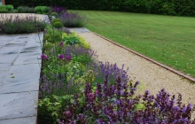 Border at terrace edge in Hampshire garden